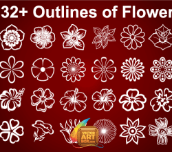 Vector Flowers Outline