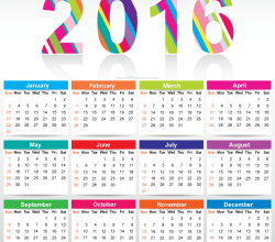 Free Colorful Calendar 2016 Vector Template