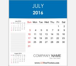 Editable Calendar July 2016