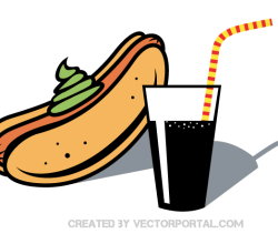 Hot Dog and Drink with Straw Clip Art