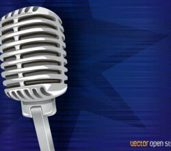 Vintage Microphone on Abstract Blue Background