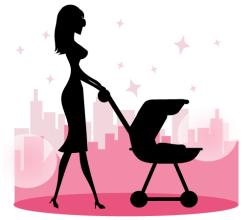 Mommy Walking Baby in a Stroller Vector Art