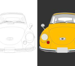 Yellow Classic Car vector Art