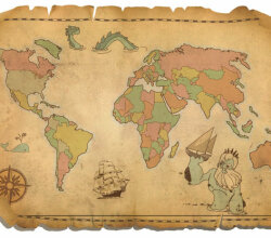 Antique World Map Vector Free