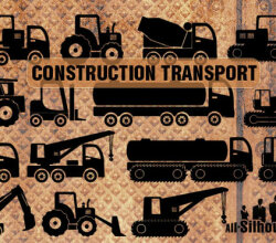 Construction Transport Silhouettes Free Vector