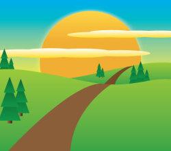 Sunny Meadow landscape Vector Image