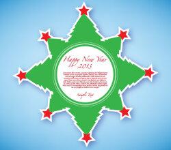 Happy New Year 2013 Green Sticker Free Vector