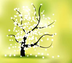 Vector Spring Flower Tree Landscape