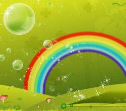 Vector Clover Leaf Rainbow Valley Background Design