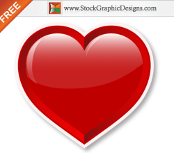 Lovely Red Shiny Valentine's Heart Free Vector Illustration