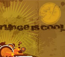 Vector Retro Grunge Brown Background with Circles