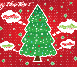 Greeting Card with Christmas Tree on Red Background Vector