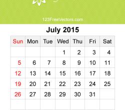 July 2015 Calendar Template Vector Free