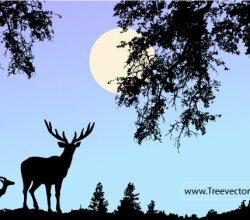 Nature Scene Vector with Deer