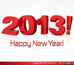 Happy New Year 2013 Vector Typography