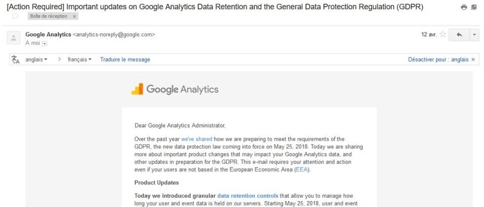 Mise en conformité GDPR Google Analytics