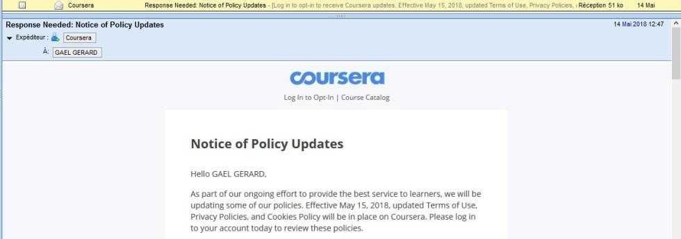 Mise en conformité RGPD Coursera