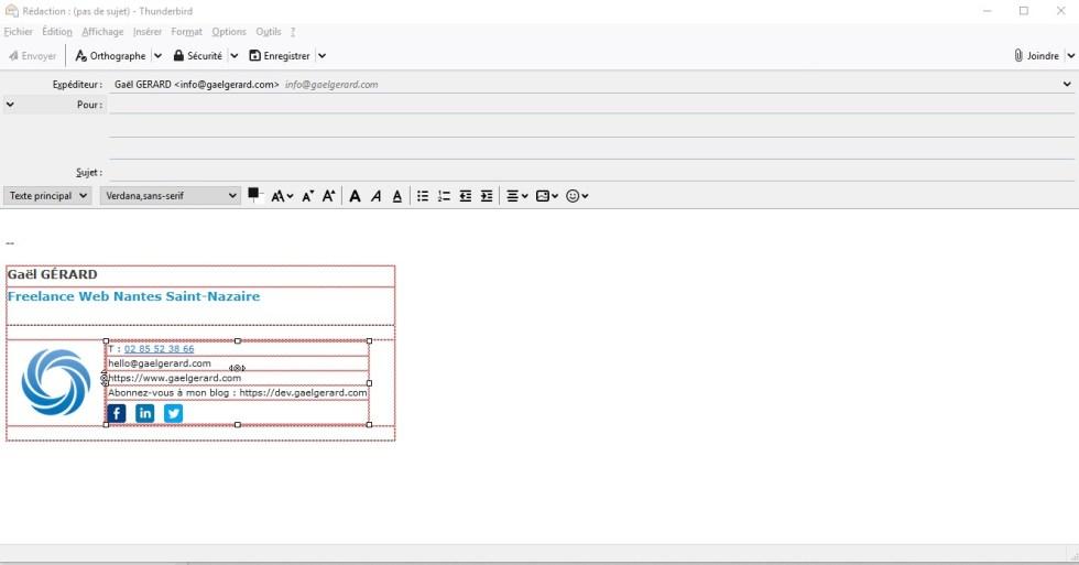 Modèle de signature email généré dans le logiciel de messagerie