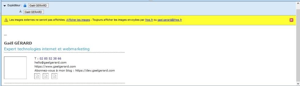 Signature email classique avec des images externes qui sont bloquées par le logiciel de messagerie.