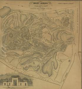 Plan of Mount Auburn, published by Nathaniel Dearborn, 1839.