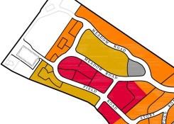 Approximate Develeopment of Burial Lots in the Meadow: Orange = 1950 - 65, Mustard = 1965 - 70, Red = 1970 - 85