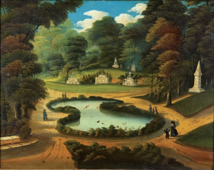 View of Forest Pond, attributed to Thomas Chambers. Oil on canvas, c. 1840s. Inspired after an engraving by R. Brandard of a painting by William Henry Bartlett.