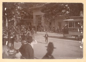 Visitors gathered in front of Mount Auburn's Egyptian Revival Gateway, ca. 1870 - 1900 cabinet card.