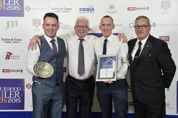 Martin Mawhinney, Brian McKenna; Mark McAuley and Derek Gallagher from sponsor Spices Nice