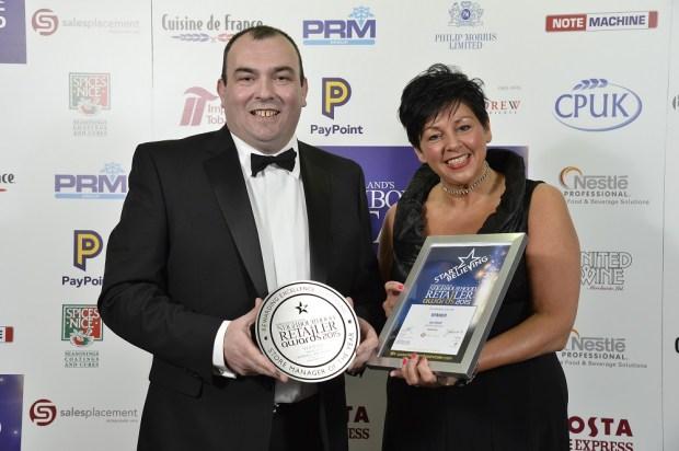 Ian Elliott from SuperValu Ballymoney with June Wilson, Sales Placement