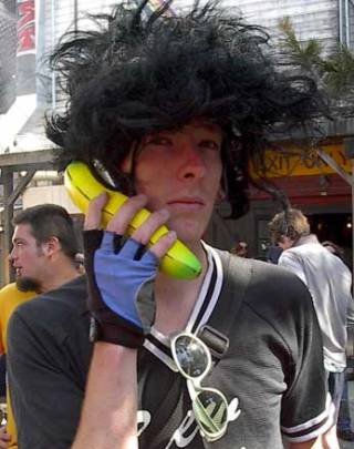 Jaded, disaffected hipster does not care what you think about his kitschy, ironic bananaphone.