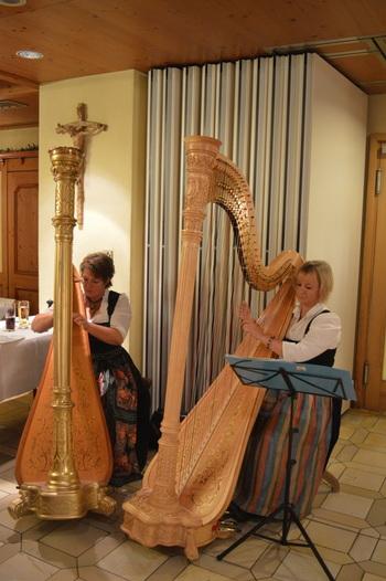 Beim Hoagartn sorgen die Harfenistinnen für ruhigere Töne. Foto: Ramona Schittenhelm