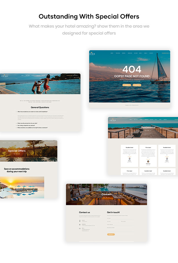 Erios Resort WordPress Theme Pages Supported
