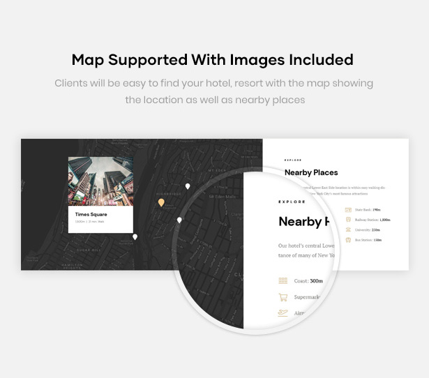 Erios Hotel WordPress Theme Map Supported
