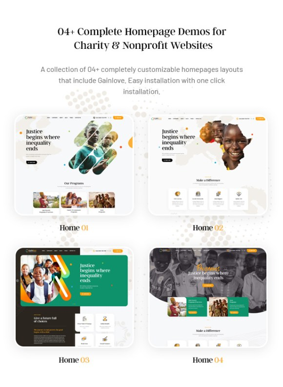 Gainlove Nonprofit WordPress Theme - 04 Charity Website Demos