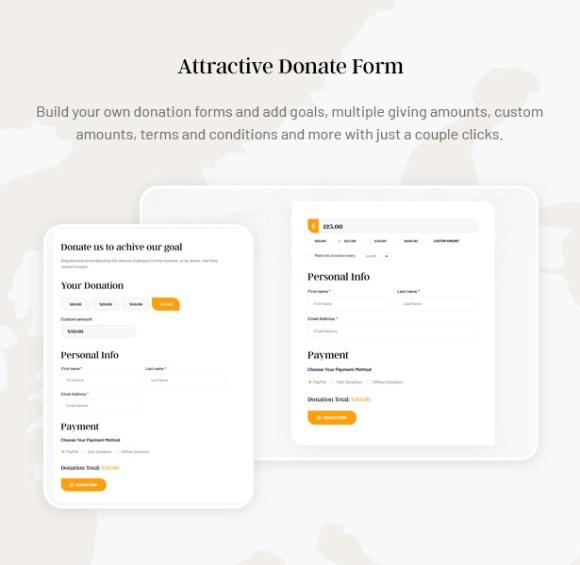 Gainlove Nonprofit WordPress Theme - Donate Form