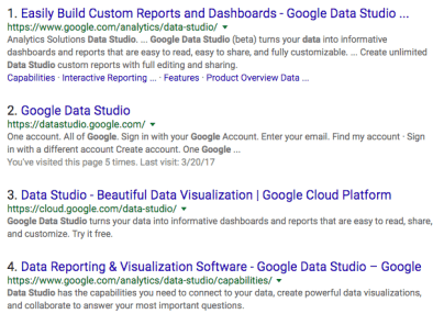 Google Data studio on google - looks like they changed their links