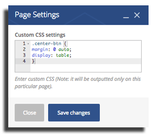 Center buttons in WordPress Visual Composer Page Settings Custom CSS Settings