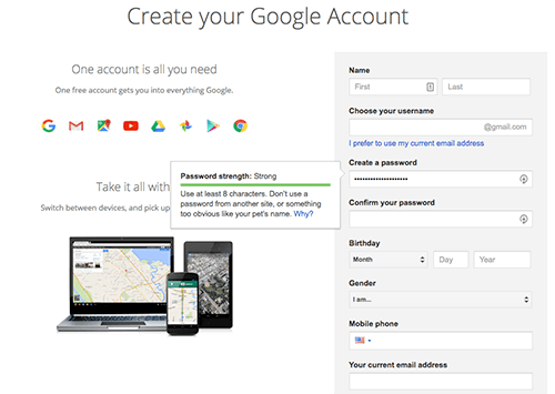 Setup gmail for google analytics account - need gmail first