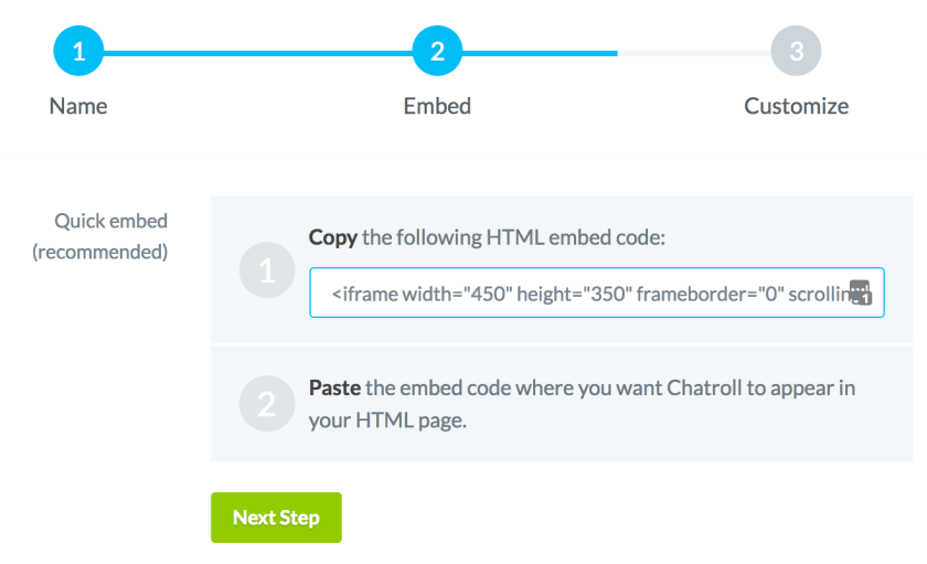 Copy and paste your embed code into your website html. step two creating a free chatroom on chatroll. Dev3lop
