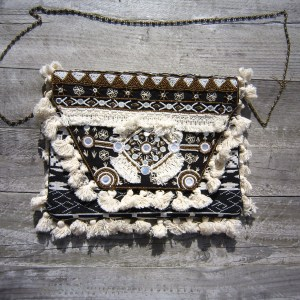 Boho Clutch, bag, tas zwart en wit 1