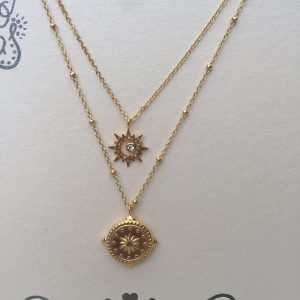 KETTING COMPASS STAR-goud.