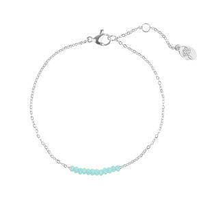ARMBAND BEADS ROW Zilver-Blauw.