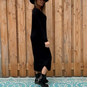 Sofia Maxi gebreid Zwart kleur jurk – one size.