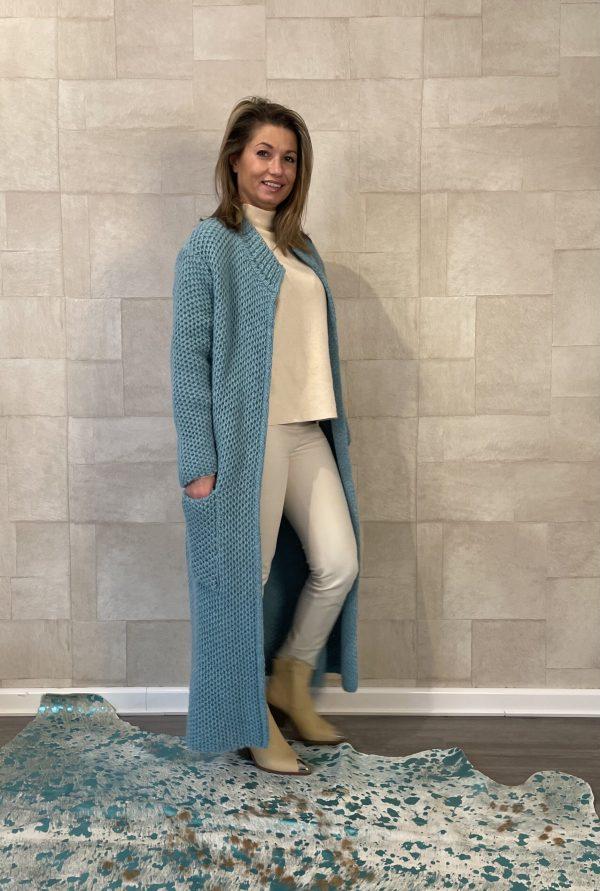 Martina Maxi grof gebreid vest Blauw kleur – one size