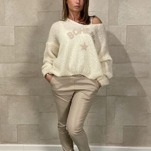 Fake Leather Jogging Pants Beige