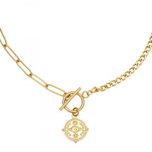 Ketting Locked Eye Stainless steel - Goud kleur.