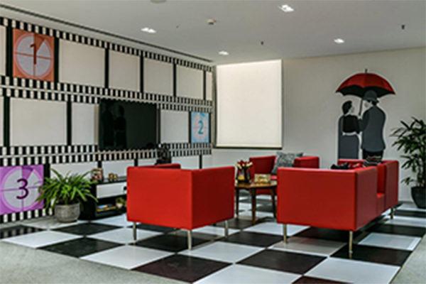 office building movie theatre lobby interior design mumbai
