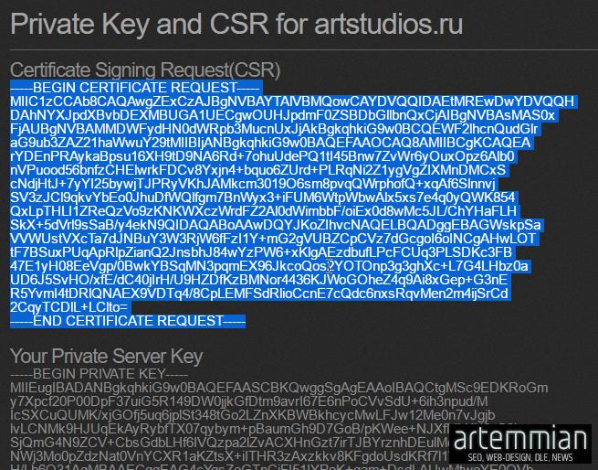 gogetsl online generator private key and csr - Как бесплатно получить SSL, как настроить протокол https, как получить зеленый замок в адресной строке