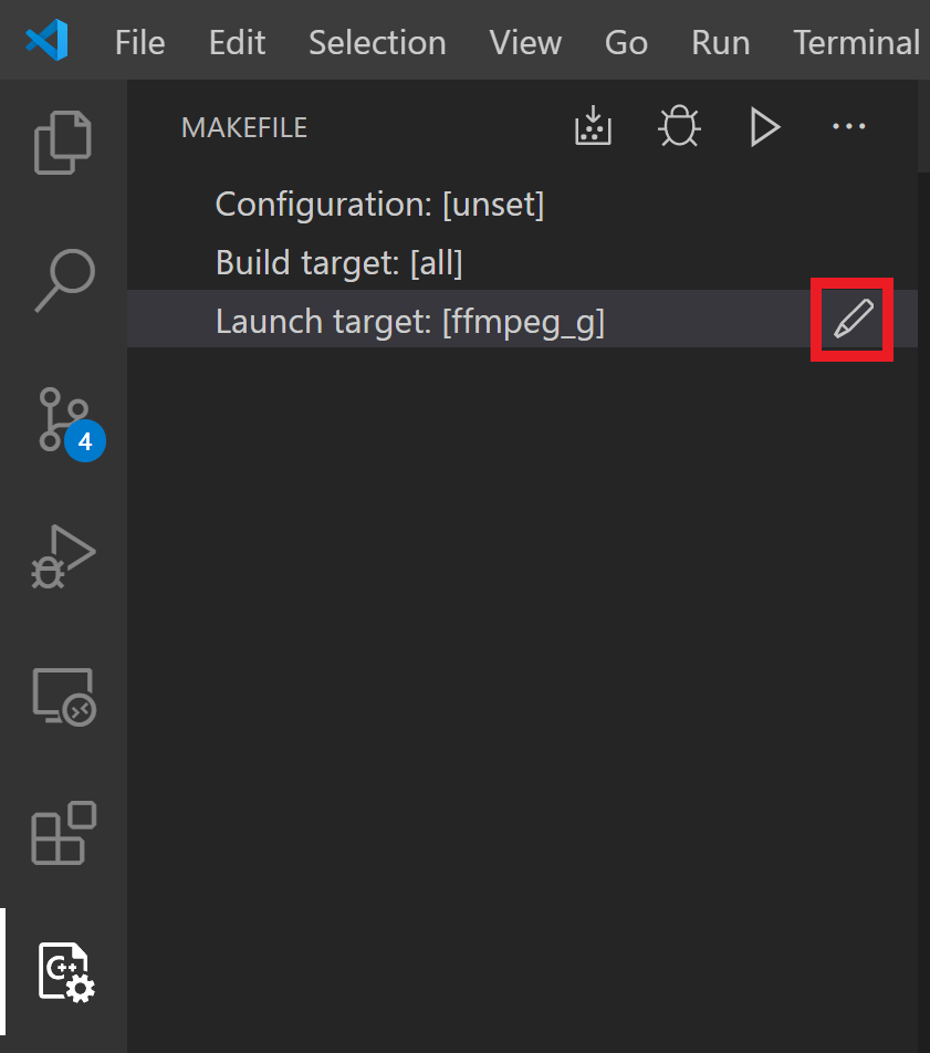 "Image showing the ""edit Launch target"" button that appears on hover in the Makefile Tools UI pane"
