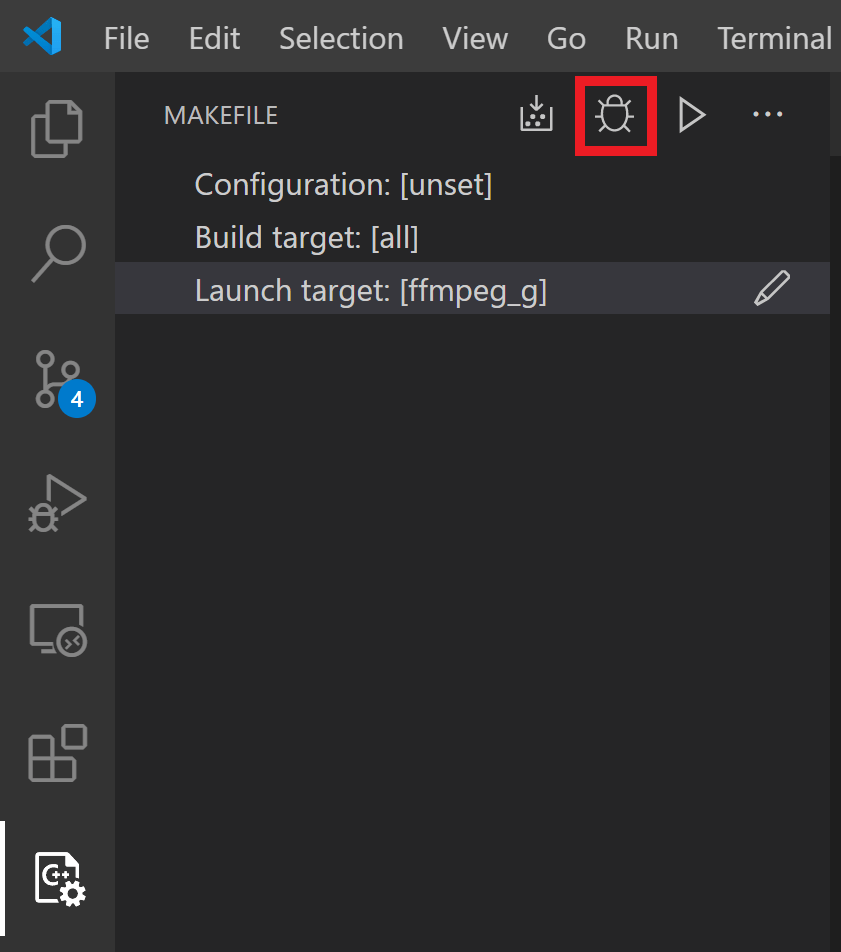 Image showing the Debug target button in the top right corner of the Makefile Tools UI pane